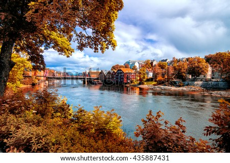 View through autumn foliage to Nidelva river, Trondheim city, Norway
