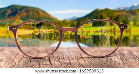 View through eyeglasses to nature Foto d'archivio ©