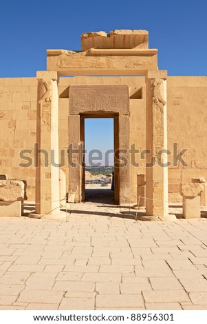 View through Gates in Hatshepsut Temple, Luxor, Egypt