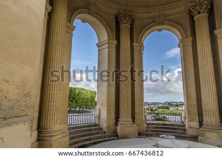 View through main basin monument arcs on Peyrou and Montpellier southern France