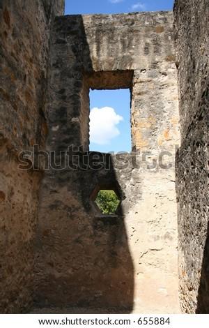 View through San Antonio Mission Window - stock photo