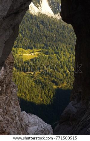 View through the natural window Prisojnikovo okno, Triglav National Park, Slovenia Zdjęcia stock ©