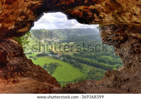 View through the Window Cave in Arecibo, Puerto Rico.