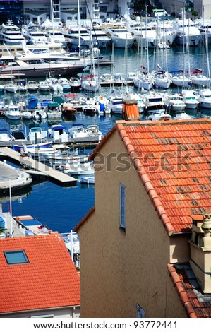 View to a bay with yachts in Cannes, Cote d'Azur, France
