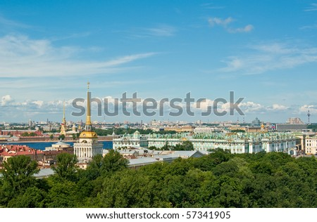 View to Admiralty, Winter palace (Hermitage) and Peter and Paul\'s fortress in St.Petersburg, Russia.\\ See more photos: http://www.shutterstock.com/sets/14773-saint-petersburg-russia.html?rid=522649
