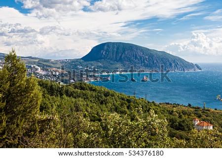 View to Ayu Dag Mountain in Gurzuf near Yalta