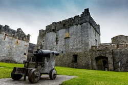 View to canon inside the Cahir Castle, in Tipperary, Eire.