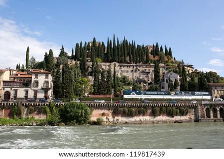 View to Castle San Pietro in Verona, Italy