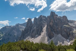 View to Cima Uno one of the five Dolomite peaks of the Sesto sundial