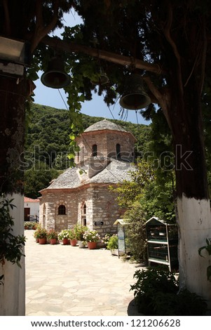 View to Evangelistria Monastery, Skiathos, Greece