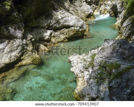 view to famous tolmin canyon in Slowenia #709413907