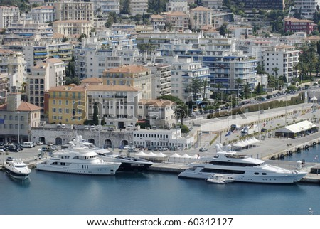 View to harbor and Port at Nice. Cote d'Azur. France. From Parc de la Colline du Chateau