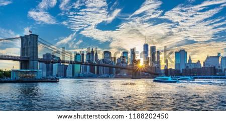 View to Manhattan Skyline form Brooklyn Bridge Park #1188202450