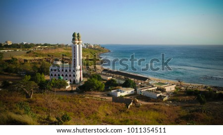 view to Mosque of the Divinity at sunset in Dakar, Senegal #1011354511