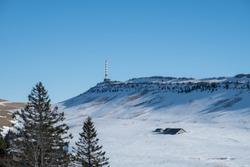 View to mountain Chasseral in Jura, Switzerland, winter
