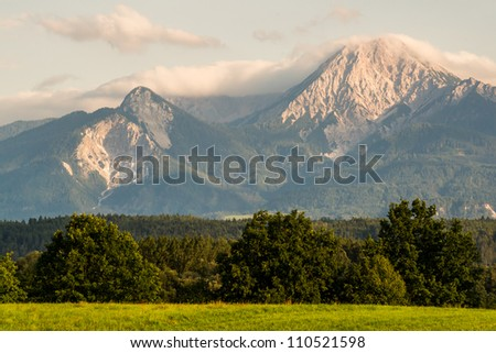 View to Mt. Kepa (Mittagskogel in german) in the Karawanks at the border to Slovenia.