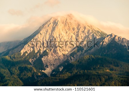 View to Mt. Kepa (Mittagskogel in german) in the Karawanks at the border to Slovenia at sunset