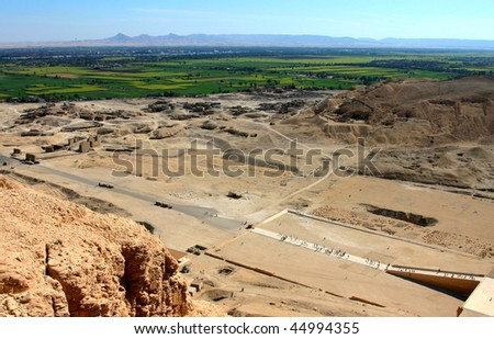 View to Neil Valley from Gurna hills near the valley of kings, Hatshepsut's temple. Wet Bank. Luxor. Egypt