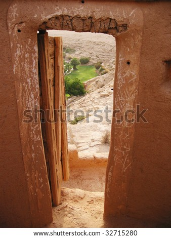 View to oasis from the Diriyah fortress in Er Riyadh, Saudi Arabia