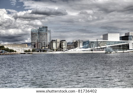 View to Oslo, Norway with Opera house in HDR.