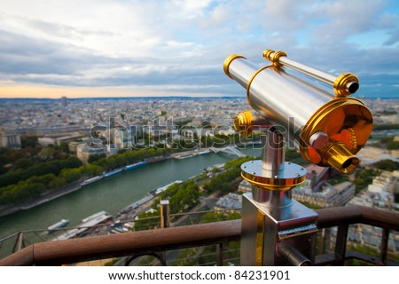 View to Paris and Seine from Eiffel tower