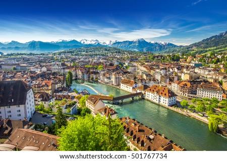Photo of  View to Pilatus mountain and historic city center of Luzern, Switzerland.
