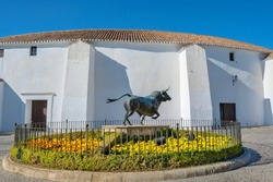 View to Plaza de Toros de Ronda is one of the oldest bullrings in Spain. Ronda, Malaga province, Andalusia, Spain