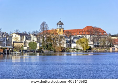 View to Potsdam (Germany) on a sunny day in springtime at the riverside of the River Havel. Potsdam is a city on the water. Potsdam is the capital of the state of Brandenburg in Germany.