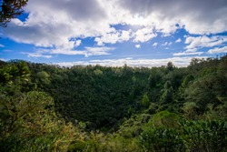 View to Rangitoto Island from North Head in a sunny day with a beautiful blue sky in a green forest
