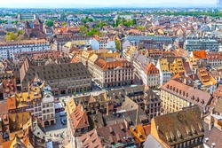 view to strasbourg buildingSkyline panoramic aerial view of Strasbourg old town, Grand Est region, France. Strasbourg Cathedral. View to Place Gutenberg square