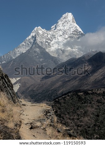 View to the Ama Dablam (6814 m) from the trek near Dingboche - Everest region, Nepal