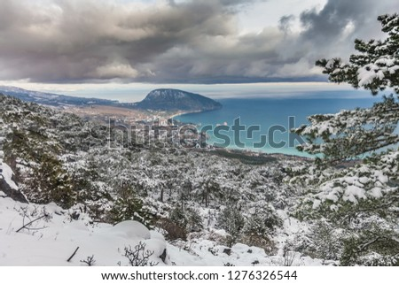 View to the Ayu-Dag mountain and Gurzuf village from the snowy forest near Nikita village. Crimea, Yalta
