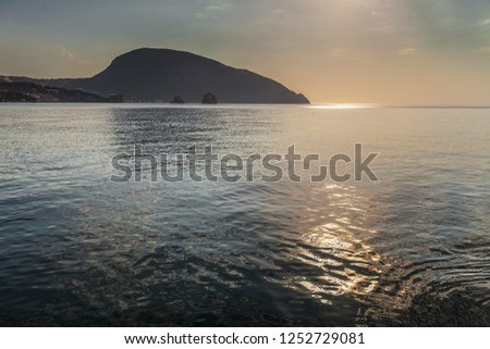 View to the Ayu-Dag mountain from the sea at the morning. Crimea, Gurzuf.