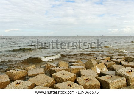 View to the Baltic sea from coastline.