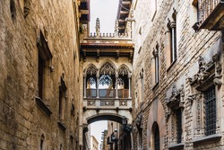 View to the Bishop's Bridge in the Gothic Quarter of Barcelona, Catalonia, Spain