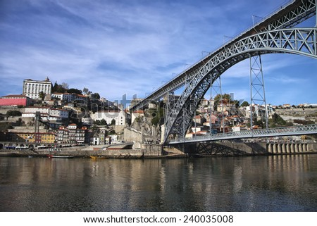 View to the bridge across the river and old European architecture on opposite shore