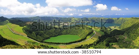 View to the Caldeira of Sete Cidades from the viewpoint near Lgoa de Canario (Sao Miguel, Azores)