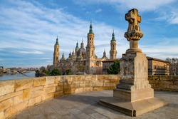 View to the Cathedral-Basilica of Our Lady of the Pillar (Spanish: Catedral-Basílica de Nuestra Señora del Pilar) in the city of Zaragoza, Aragon (Spain)