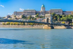 View to the Chain Bridge and Buda Castle, Budapest, Hungary in sunny day with blue sky background