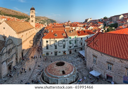 View to the Dubrovnik square from city walls  roofs