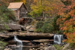 View to The Glade Creek Grist Mill in Babcock State Park, West Virginia, USA