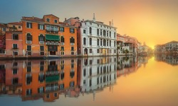 View to the grand canal and Museum of Academy from the Academy bridge (Ponte dell'Accademia) in Venice, Italy