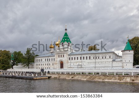 View to the Ipatievsky monastery from Volga river under heavy clouds, Kostroma, Russian Federation