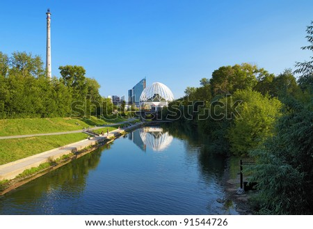 View to the Iset River, unfinished TV Tower and Building of a circus in Ekaterinburg, Russia