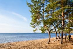 View to The Lake Saimaa and sandy shore, Huuhanranta beach, Ruokolahti, South Karelia, Finland