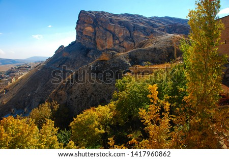 View to the majestic rocks and ruins of the city. Autumn comes. Only here and in two other cities are spoken aramaic language. Syria before the war. Maaloula, Syria, Middle East. November 23, 2007. #1417960862