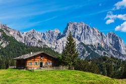 View to the mountain pasture Litzlalm in the Alps, Austria.