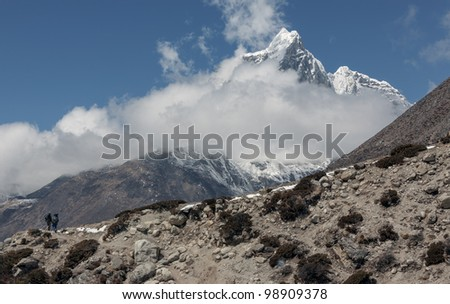 View to the peak Tabuche from the village of Dingboche in the valley of Chhukhung district Everest - Nepal, Himalayas