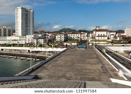 View to the Ponta Delgada city from marina, San miguel, Azores, Portugal