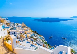 View to the sea and Volcano from Fira the capital of Santorini island in Greece